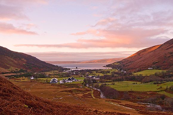 Arran Distillery seen from the hills above: the whisky maker sees January 25 as a major opportunity.