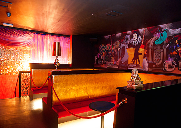 A colour scheme of reds, golds and purples helps bring the upstairs bar to life at Cirque.