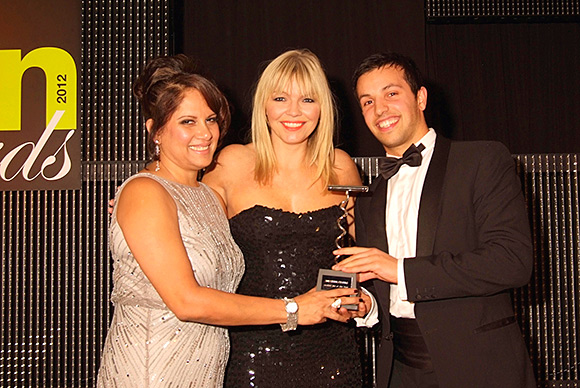 Director Ben Iravani collecting the Cocktail Bar of the Year award at the 2012 SLTN Awards