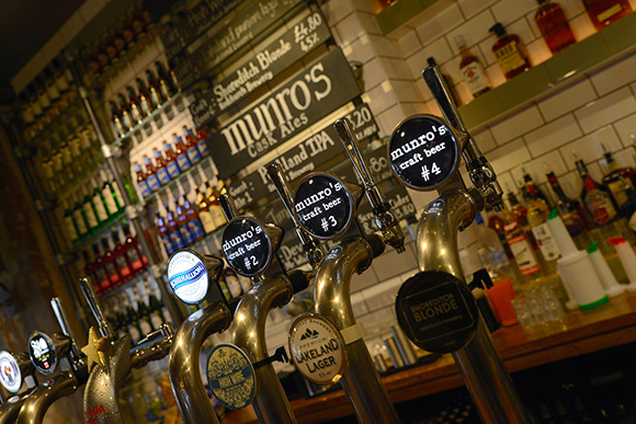 Munro's has eight craft and cask taps, with six of the beers changing on a regular basis.