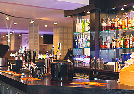 As part of the refurbishment of The Melville, a new bar top was installed and a glass and mirrored gantry was built to house the vast range of spirits.