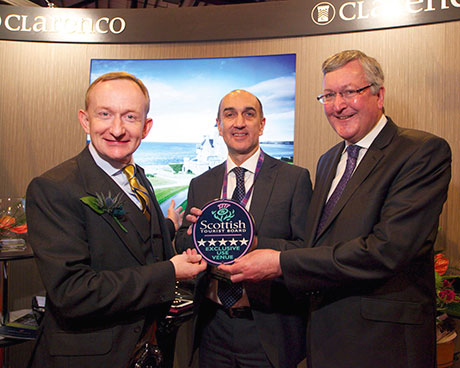 VisitScotland chairman Mike Cantlay, Clarenco's Andy Mack and tourism minister Fergus Ewing.