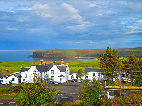 • Life on the edge: the 12-bedroom hotel overlooks Melvich Bay and the Pentland Firth.