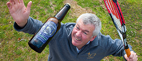 Eden Brewery boss Paul Miller 'serves' his Grand Slam beer.