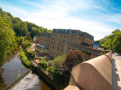 The hotel overlooks the Water of Leith.