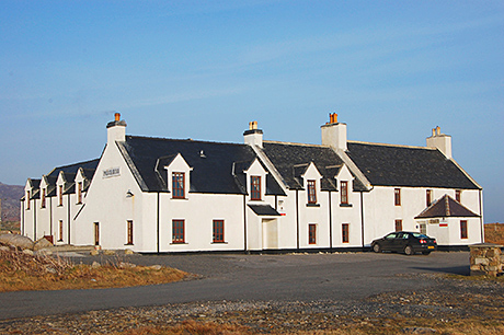 The Polochar Inn is located on the southern tip of South Uist looking towards the Isle of Barra.