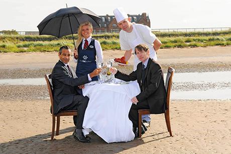 Head chef Andrew Beattie serves Korallus (left) and James (right).