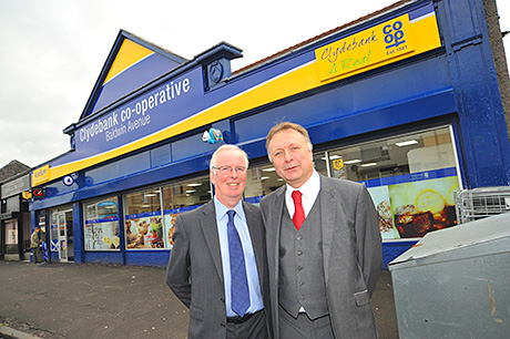 JW Filshill's Ian McDonald and Robert Sider of Clydebank Co-op outside the new store.
