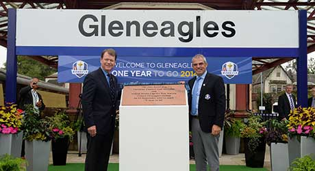Ryder Cup captains Paul McGinley (right) and Tom Watson.