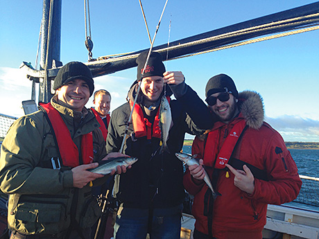 The team: (left to right) Tony Sarton, Stephen Thorpe and Ifan Marasco catch fish for the restaurant.
