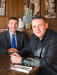 • Tony Macaroni boss Sep Marini (right) with Bank of Scotland's David Murray.