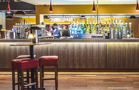 • The bar, which has a stepped back-bar lit by fibre optics, is a main feature.