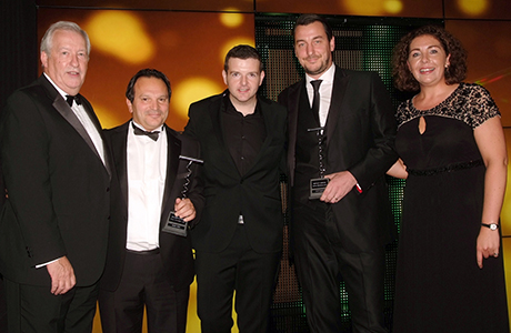 Mario Gizzi and Tony Conetta were presented with the SLTN Award for Industry Achievement, in association with Maxxium UK, by Maxxium's Jim Grierson (left), comedian Kevin Bridges and SLTN editor Gillian McKenzie