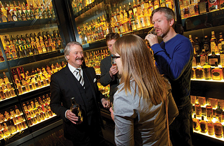 Whyte and Mackay master distiller Richard Paterson speaks to guests at the blenders event.