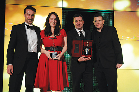 • The top step: Sian accepts her SLTN Award from sponsors Barnomadics and Pernod Ricard UK.