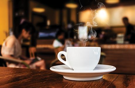 shutterstock_cup of coffee on table