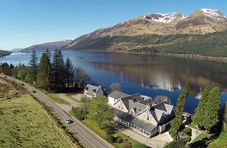 Hotel banks on loch-side views