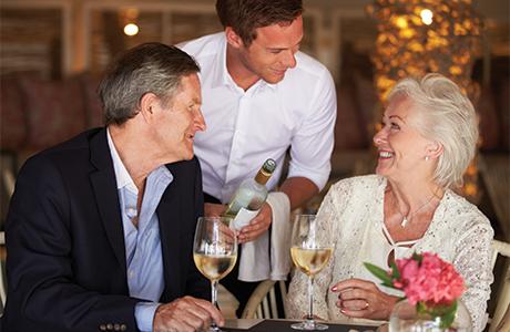 Older couple restaurant