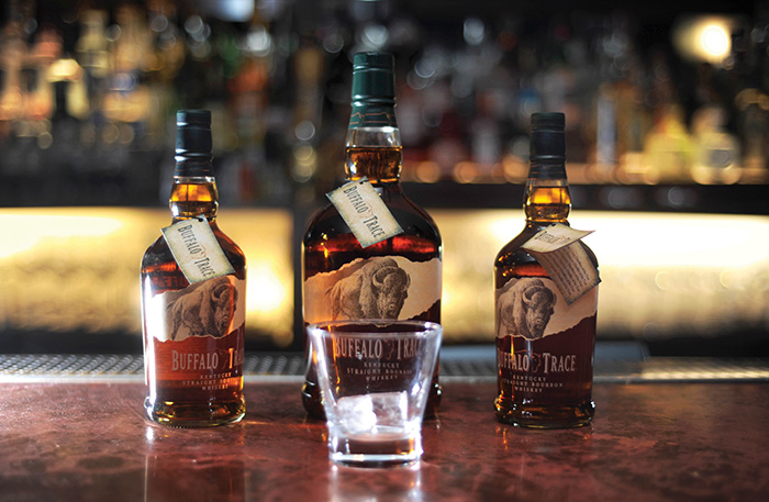 Buffalo Trace bottles on bar