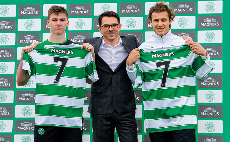 Magners Marketing Director Paul Condron joins Celtic stars Kieran Tierney (left) Erik Sviatchenko (right) to announce a four year extension to the partnership between the drinks industry giants and the Scottish champions