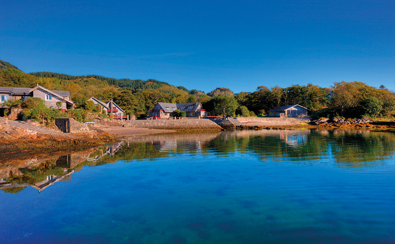 • The 4.5-acre site's private harbour and beaches boast uninterrupted views down Loch Melfort.