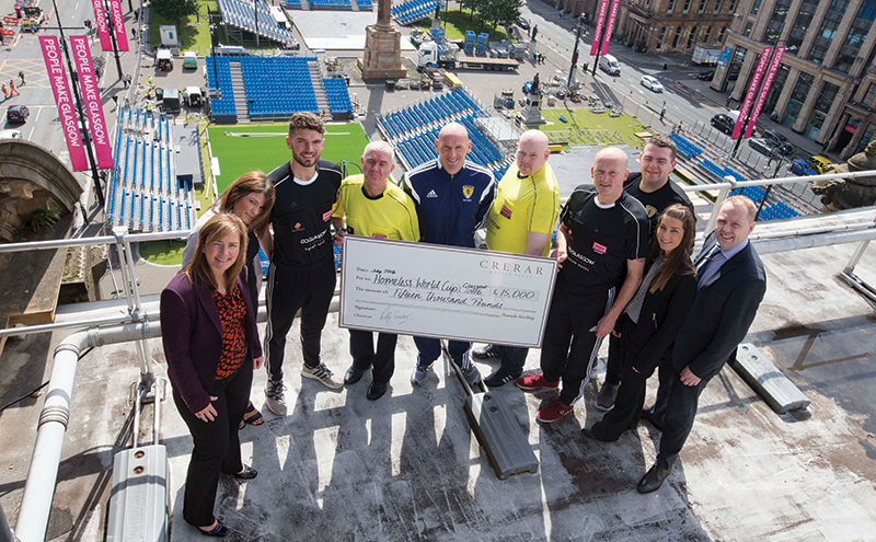 07/07/16.... GEORGE SQUARE - GLASGOW. Category 1 referee Bobby Madden, just back from UEFA Euro 2016, where he made three appearances, will joined a group of Homeless World Cup referees Robert Peacock    David Bilsland, Ian McGill, Sandy Miller