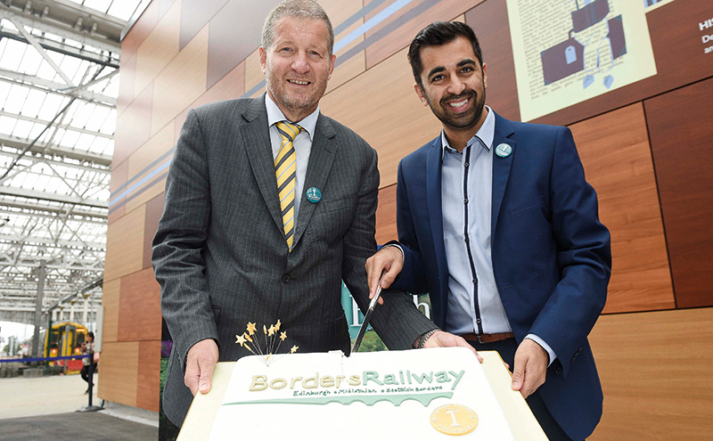 • On track: ScotRail Alliance MD Phil Verster (left) and transport minister Humza Yousaf.