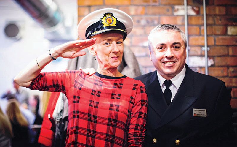 • Muriel Gray with CalMac master mariner Lachie Wotherspoon.