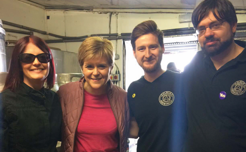 Nicola Sturgeon visiting the brewery.