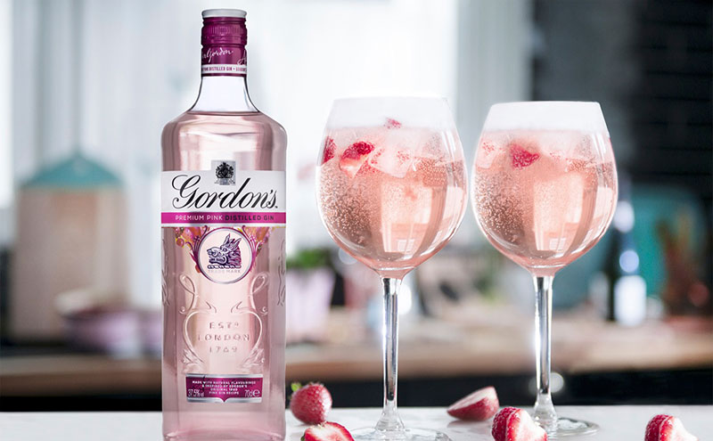 The Gordon's Pink Spritz combines the pink gin with prosecco and lemonade.