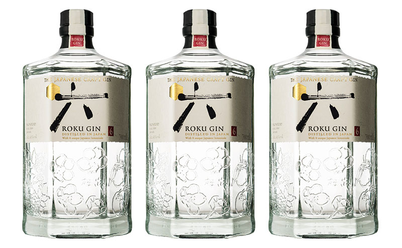 Roku Japanese gin bottles