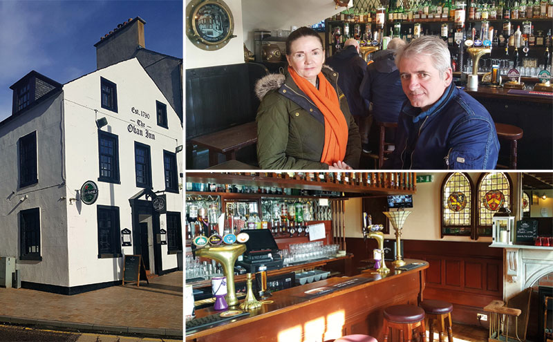 Back where they belong: Maire Lynch and Steven Shaw reopened The Oban Inn in November 2016 – nine years after it closed and 30 years after Maire first sold the historic west coast pub.