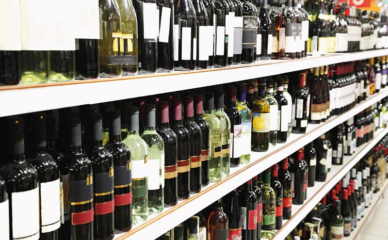 Wine-bottles-on-shelf