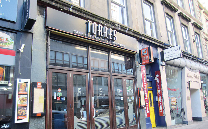 The unit that formerly housed the Torres Tapas Restaurant & Wine Bar on Sauchiehall Street