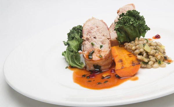 Recipe: Partridge roulade stuffed with a pear, tangerine and thyme mousse, Andrew Beattie, Braehead Foods