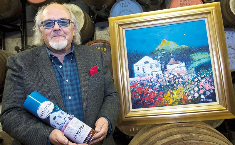 Jolomo with the new distillery painting