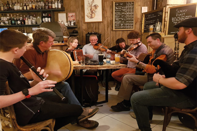 Bruce MacGregor plays with local musicians in Inverness pub