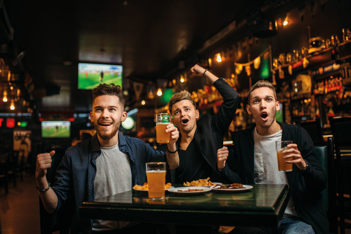 Sports fans in pub drinking beer
