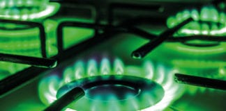 green gas cooker flame