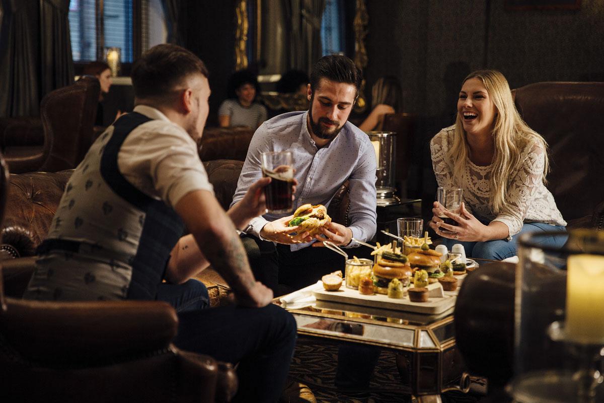 people eating in pub