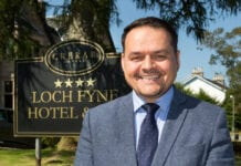Chris Wayne-Wills outside Loch Fyne Hotel and Spa
