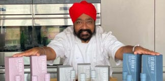 Tony Singh pic with Cù Bòcan whisky bottles
