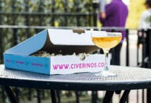 Civerinos pizza box with drink from Mothership bar