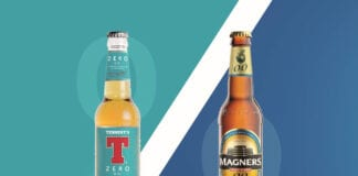 Tennent's Zero and Magners bottles